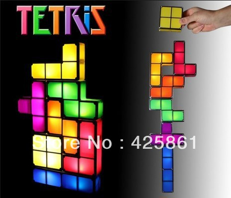Whosale - 2013 New - Tetris Lamp / Light - Recesky Light Tetris Stackable LED Desk Lamp Free Shipping(China (Mainland))