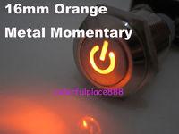 16mm Orange Metal Car Fog LED Momentary N/O N/C Switch 12V DC NICKEL-PLATED BRASS with Symbol
