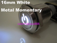 16mm White Metal Car Fog LED Momentary N/O N/C Switch 12V DC NICKEL-PLATED BRASS with Symbol