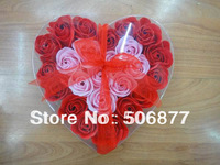 Drop Shipping Gift Washing Cleaning Bath Rose Flower Gift Organtic Wedding Heart Multicolor 24pcs/lot Bowknot Paper Petals Soap