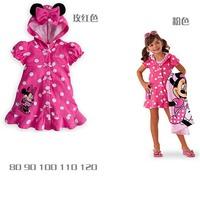 2014 Summer new girls outerwear bow dot hoodie coat minnie Girl hoody jacket tops outwear cartoon clothes mini dress bathrobe