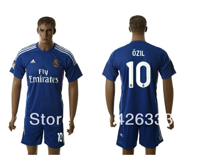 10 # OZIL BENZEMA 2013/14 Real Madrid away blue soccer jersey + shorts kits, best quality football uniforms Embroidery logo(China (Mainland))