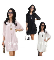 Free Shipping 2013 /Drop shipping/Lotus leaf/lantern sleeve/snow spins /dress/miniskirt/chiffon