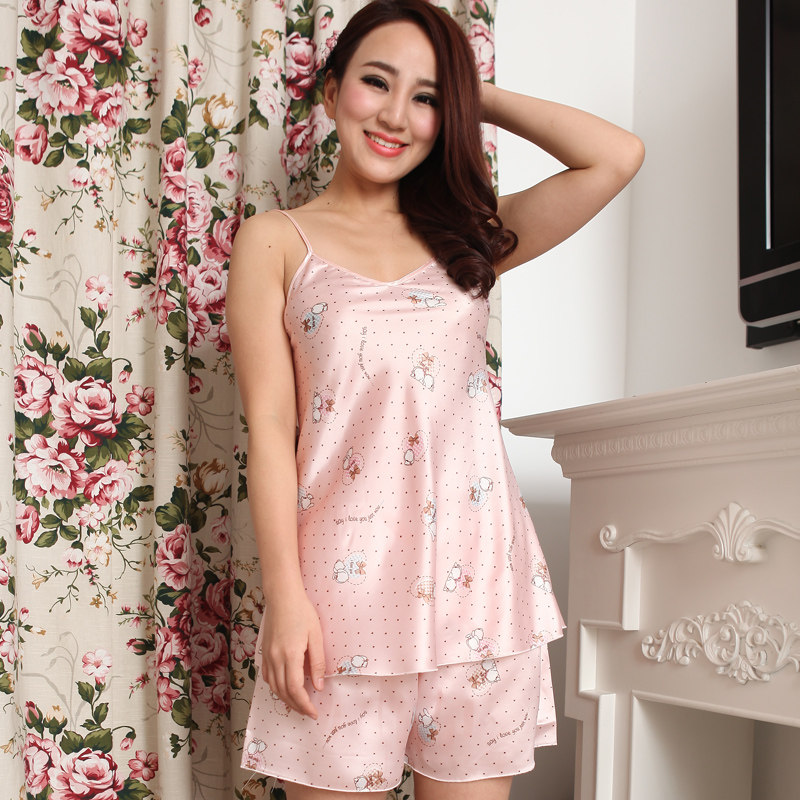 Silk 2013 cartoon cute spaghetti strap nightgown faux twinset silk sleepwear female lounge set(China (Mainland))