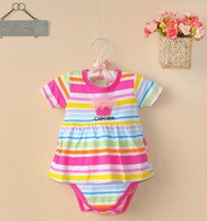 Free shipping 100% cotton baby girl's short sleeve romper 2013 new summer Carters stripe baby clothing infant dress baby wear