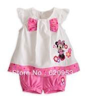 Wholesale Children suit Girls Minnie bow vest T shirt + shorts suit girls cartoon printed leisure suit free shipping