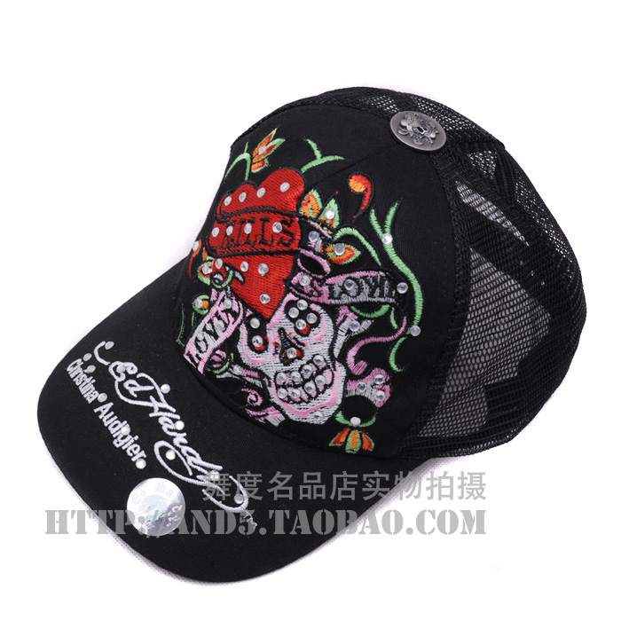 Ed hardy 2013 embroidery red skull pattern diamond basic hat baseball cap mesh cap(China (Mainland))