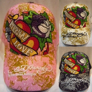 Ed hardy sunbonnet embroidery rose red diamond multicolor love baseball general hat cap(China (Mainland))