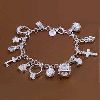 H144 925 silver bracelet 925 silver fashion jewelry charm bracelet 13 Pendants Bracelet