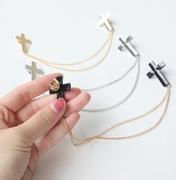 Vintage Personality alloy cross tassel chain collar women brooches 3colros Wholesale A++ Free shipping Min.order $10 mix order