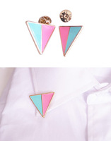Fashion hit color triangle alloy collar brooches Free shipping Min.order $10 mix order+gift