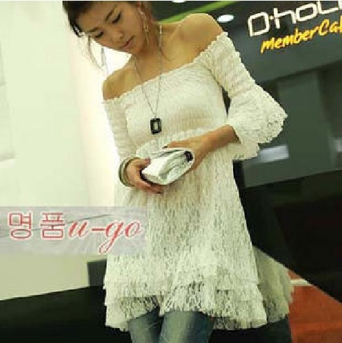 2013 fairy white lace sexy flare sleeve strapless layered dress one-piece dress 6168 tight(China (Mainland))