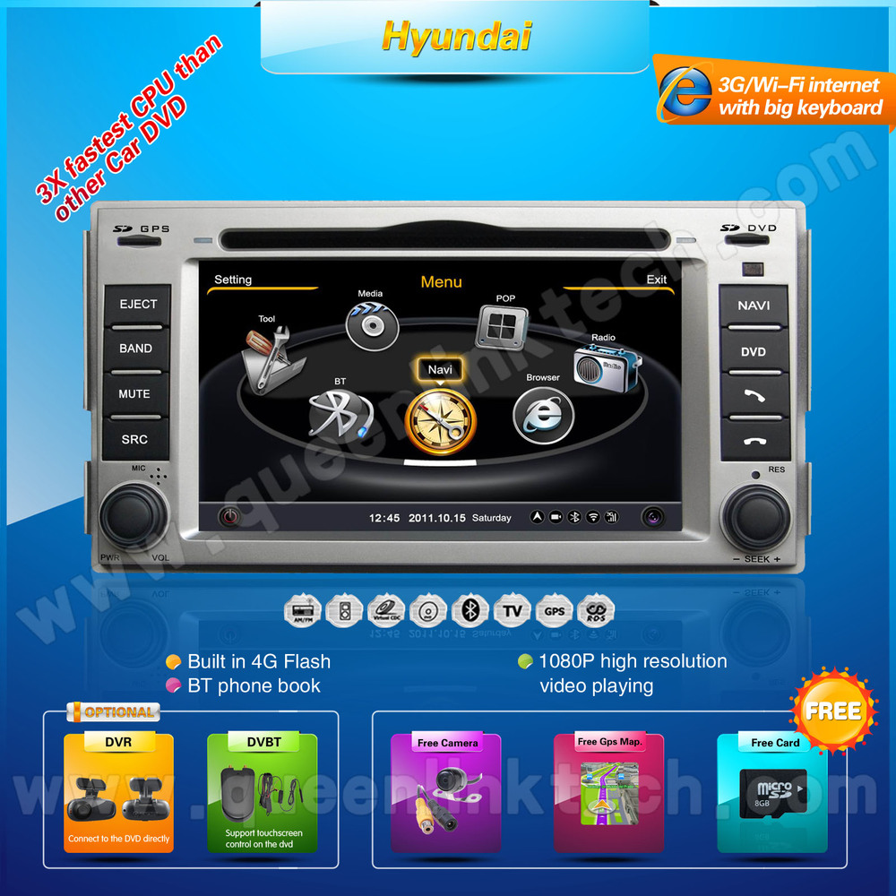 3G 7'' Hyundai SantaFe Car DVD Player,AutoRadio,GPS,Navi,Multimedia,Radio,Ipod,DVR,Free camera+Free shipping+Free map(Hong Kong)