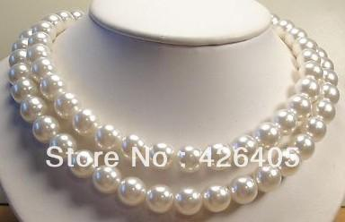 10mm White South Sea Shell Pearl Necklace AAA Grade, Gemstone 36 inch(China (Mainland))