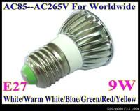 9W LED lamp spoting light LED bulbs E27 base various color for choice LED bulbs AC85V--AC265V LS50