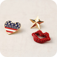 Sheegior America Style Free style star / flag heart / sexy lip 3 piece one set collar unisex brooches Free shipping