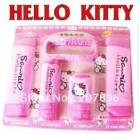 2013 new lovely 5pcs/lot hello kitty Auto Car Gear Shift Hand Brake Car Cloth Mirror Cover Casing Hood Set