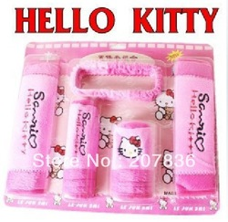 2013 new lovely 5pcs/lot hello kitty Auto Car Gear Shift Hand Brake Car Cloth Mirror Cover Casing Hood Set(China (Mainland))