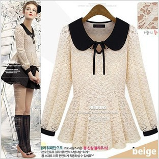 European and American Women 2013 Hitz sweet crocheted lace wild tether doll collar shirt 8044(China (Mainland))