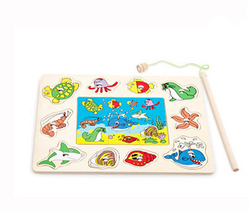 Fishing toy child wooden educational magnetic toy 1 - 2 years old animal plate puzzle toy