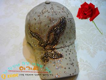 Anti-uv rhinestone sunbonnet diamond sun hat sparkling diamond baseball cap millinery
