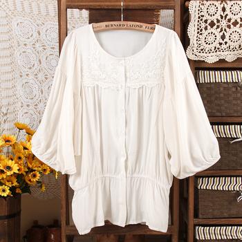 Plus size female shirt slim waist lace o-neck short-sleeve shirt lantern sleeve cardigan