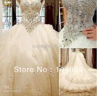 NEW Fashion New Luxury bride dress Sweetheart Swarovski crystals Applique Bead cathedral wedding dresses
