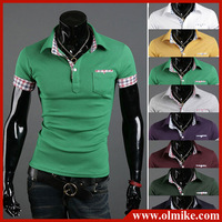 2013 new arrival man's summer casual t shirt mixed colors sleeve with pocket mens POLO shirt lapel pique cotton male tees C431