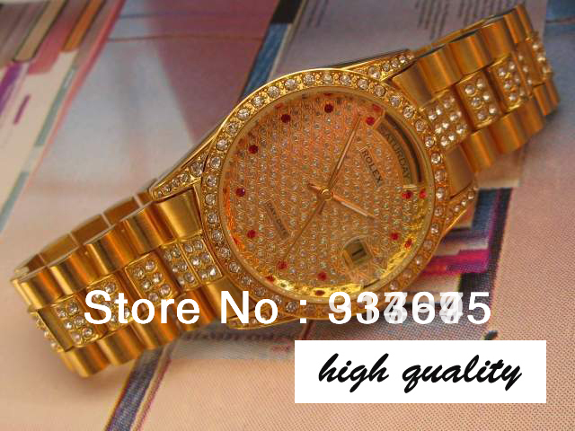 RL fashion All over star style Top luxury gold with diamond dial watchcase strap Men's automatic mechanical watches(China (Mainland))