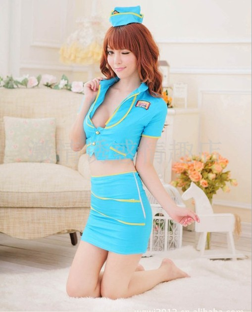 Serving stewardess uniform temptation sexy policewoman professional package(China (Mainland))