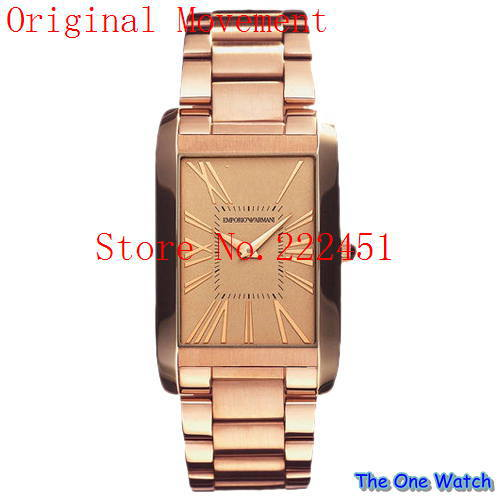 The one watch wholesale-Free shipping hot brand man watch rectangular men's gold watch ar2062 Emporio+ Original box(China (Mainland))