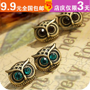 Free shipping fashion vintage accessories diamond owl stud earring(China (Mainland))