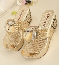 Gold fox rhinestone flip flops Fashion pumps high heels womens shoes sandals for women platform wedges shoes woman 2013(China (Mainland))