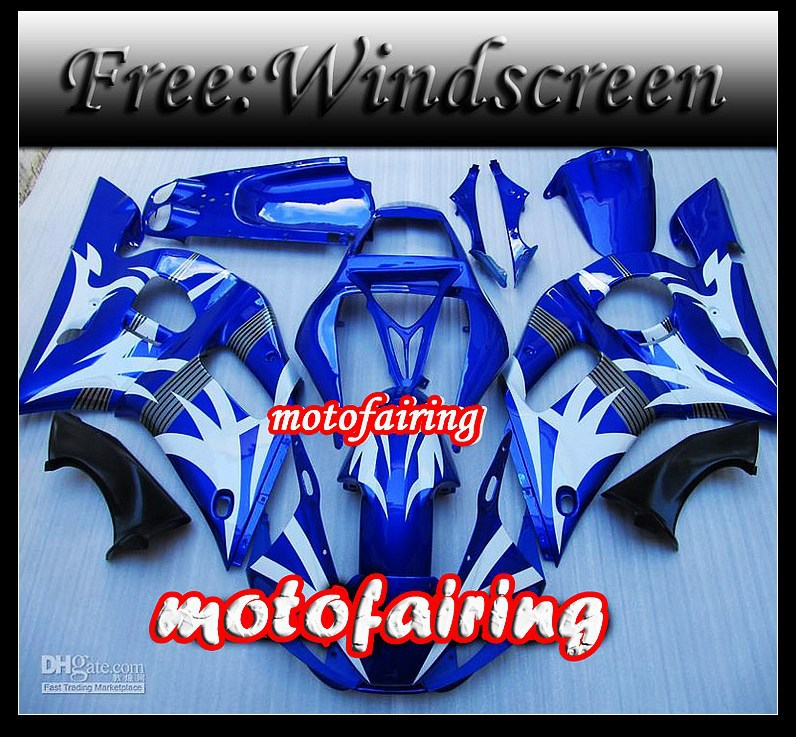 motofairing -YZF-R6 1998 - 2002 YZF R6 98 99 00 01 02 YZFR6 98-02 1998 1999 2000 2001 2002 blue whit(China (Mainland))