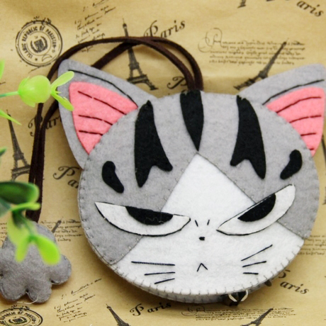 2013 New pattern Croppings material kit diy handmade fabric material kit cat cheese key wallet(China (Mainland))