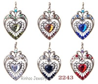 Mixture Wholesale 6pcs/lot  Fashion Jewelry Alloy  7*5cm Heart Pendant With Rhinestone Necklace For Sale W27734Y66