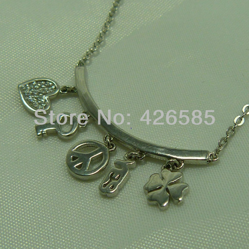 925 silver Love, keys, Clover, simple personalized necklace for Ms.(China (Mainland))