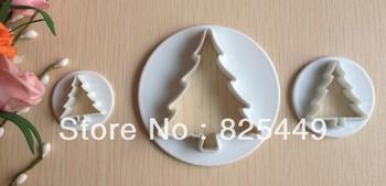 Free shipping 3PCS Christmas tree shape mold sugar Arts set Fondant Cake tools/cookie cutters