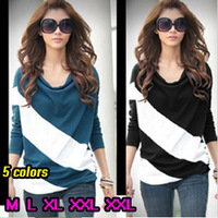 Free Shipping Dress New Fashion 2014 Autumn Winter Women Clothes Tees Woman Batwing Long Sleeve Striped T Shirts Causal Blouse