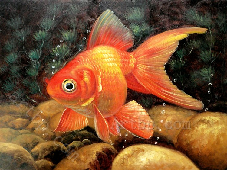 free shipping home hotel wall art decoration beautiful gifts office High quality Goldfish Realism No fade Waterproof(China (Mainland))