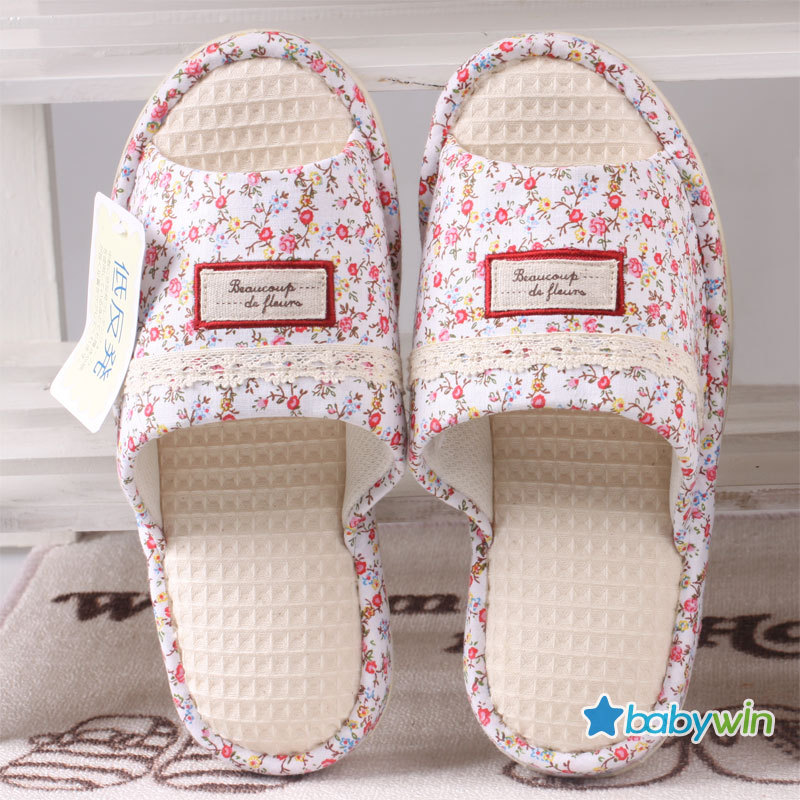 2013 100% cotton waffle spring and autumn women's at home slippers elastic comfortable memory foam(China (Mainland))