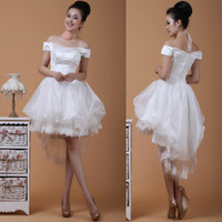 Spring and summer slit neckline short design high waist puff skirt low-high bride wedding