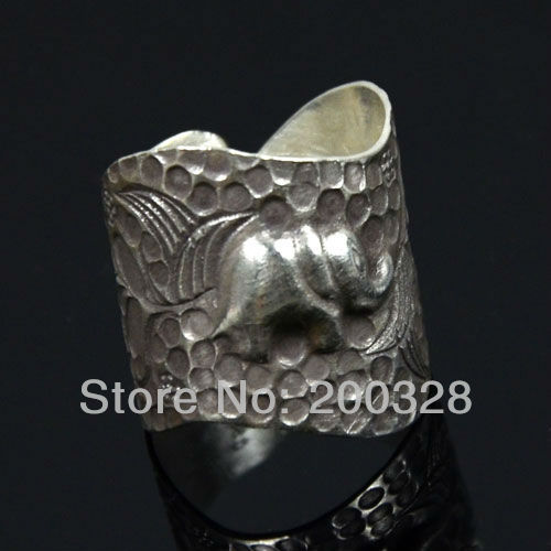 925 sterling silver ring elephant ring folk handmade design adjustable shank free shipping(China (Mainland))