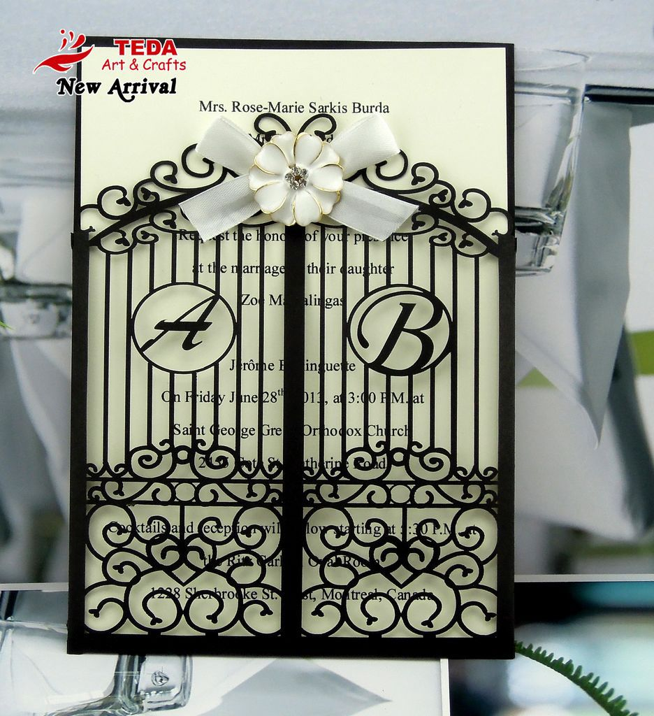 2013 New Arrival:Laser cut gate style folded wedding invitation cards(colors and designs can be customized)(China (Mainland))