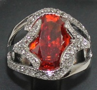 Free shipping Fashion gothic jewelry for women Silver plated Red crystal faceted Rings