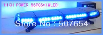 High quality DC12V/24V,56pcs*1W Led ambulance light/led mini lightbar/led emergency light,15flash pattern,waterproof IP56
