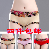 2014 Seconds Kill Hot Sale Freeshipping Shipping!women And Lady Flower Bamboo Fibre Panty Plus Size Mid Waist 100% Soft Briefs