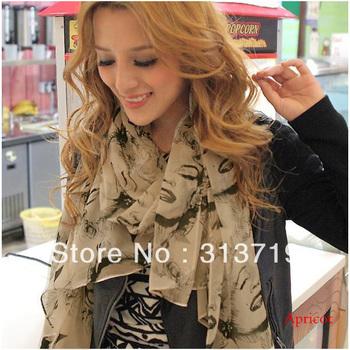 Free Shipping New Girl Lady Fashion Lip Pretty Marilyn Monroe Head Print Scarf Wrap Shawl DropShipping CY0415