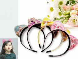 Wholesale 3D cat ear style pearl Hairbands . children princess ribbon bow Headband . Hair Accessories(China (Mainland))