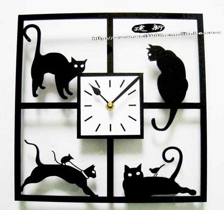 A047 big size max dia 45cm free shipping Fashion personality art wall clock quartz fun cat time
